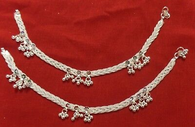 Anklet silver Chain Ankle Bracelet saree Belly dance India foot Jewelry Payal