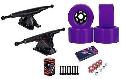 """Cal 7 Longboard 10.75"""" Axle Truck Bearing 90mm Purple Skateboard Wheels"""
