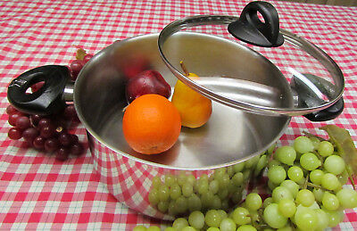 Vtg Bialetti Stainless Encapsulated Bottom 6 Qt Dutch Oven Stock Pot Pan EZ -