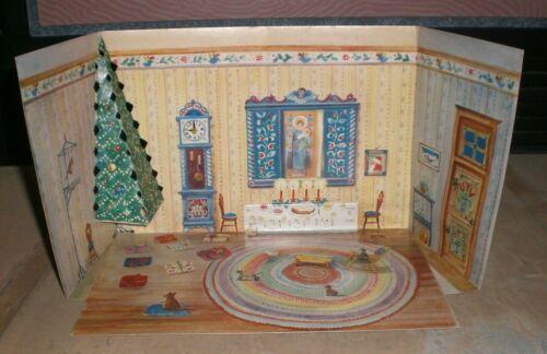 Dollhouse Christmas Scene Advent Calendar Vintage Paper Stand Up 3 Dimensional