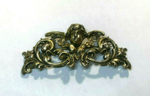 Antique Sterling (GOLD WASH) Kerr Cherub Chatelaine Brooch~ca 1890