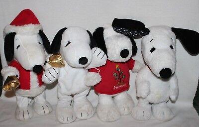 "Lot of 4 Peanuts Dancing Laughing Snoopy Plush Toys Christmas Carols 14"" Cute!!"