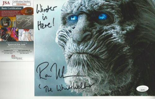 Game of Thrones White Walker autographed 8x10 close up color photo JSA Certified