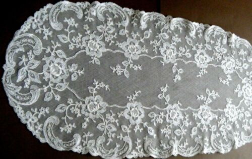 19c Antique Vtg Net Lace topper soft ivory Embr/red floral design beauty Europe