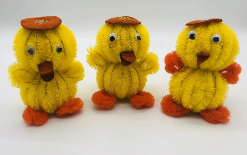 3 Vintage Easter Chicks Chenille Pipe Cleaner Craft Chick Decor