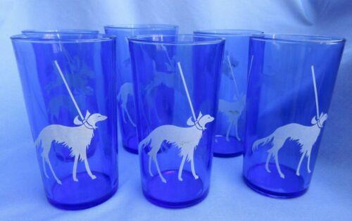 BORZOI BOSTON SCOTTISH TERRIER PEKINGESE DOG 6 COBALT BLUE GLASSES HAZEL ATLAS