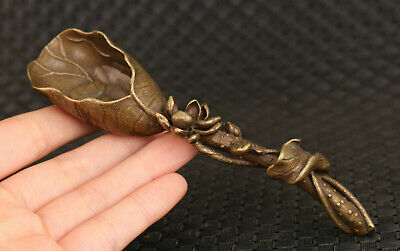 Chinese collection old bronze handmade tea leaf spoon statue tea pet decoration
