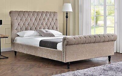 Double Sleigh Bed Upholstered Fabric Frame Velvet Chenille