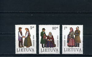LITUANIA-LIETUVA-1994-COSTUMI-REGIONALI-3-VALORI-NUOVI-MNH