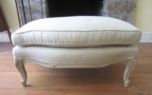 Elegant FRENCH PROVINCIAL Large Bergere Style Ottoman Stool
