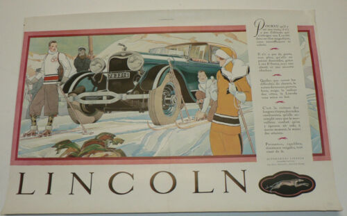 1924 Lincoln, Original Double Page Color French Magazine Ad