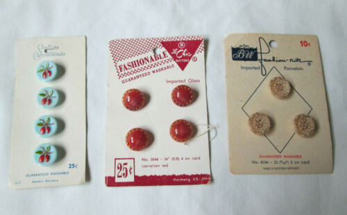 Vintage Glass Buttons Germany Cherries Lacy Porcelain Marbled Red All on Cards