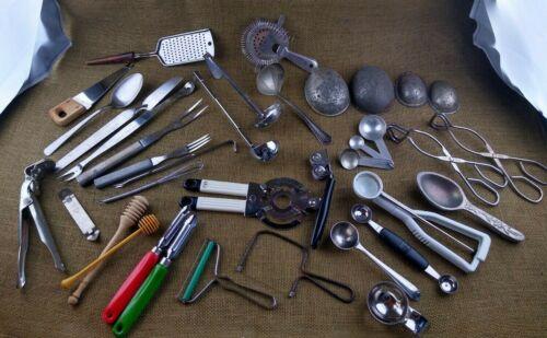 Big Assortment Lot of Vintage & Antique Kitchen Utensils 33 Pieces