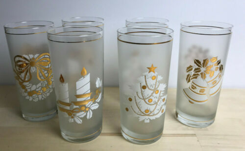 Set of 6 Vintage Signed Culver Frosted Gold White Christmas Highball Glasses