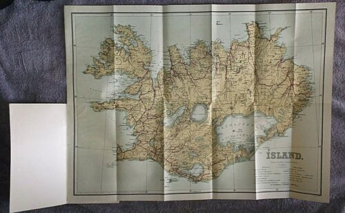 SCARCE ca 1935 DANIEL BRUUN ISLAND Tourist map of ICELAND nice