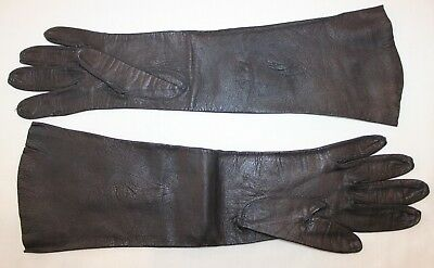 VTG Aris of Paris Real Kid SZ 6-1/2 Made in France Black Leather Opera Gloves