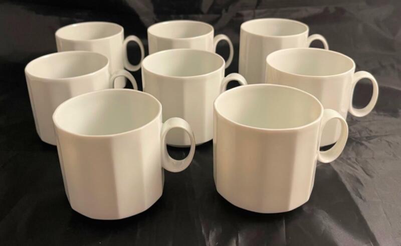 Vintage Set of 8 Rosenthal Studio Line POLYGON WHITE Tea Cups Free Shipping