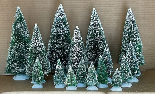 Dept 56 Frosted Topiary Tree Forest Lot of 16