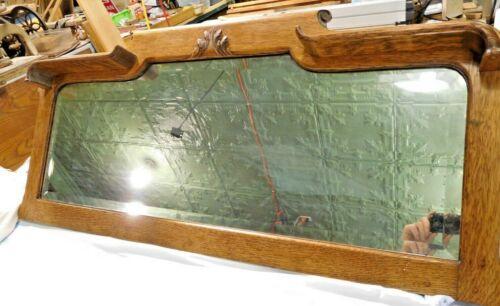 Antique ~ Salvage ~ Quarter-Sawn Oak Shaped Buffet~Sideboard Mirror Top  #1982