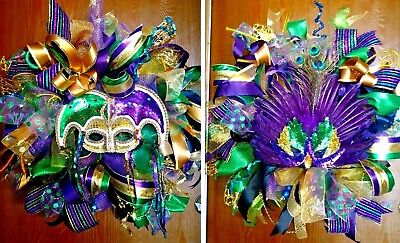 Handmade Deco Mesh Pre-Lit Mardi Gras Wreath Set of 2 or Buy Individually - Mardi Gras Wreaths