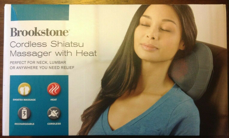 Brookstone Cordless Shiatsu Massager w/ Heat, Perfect for Ne