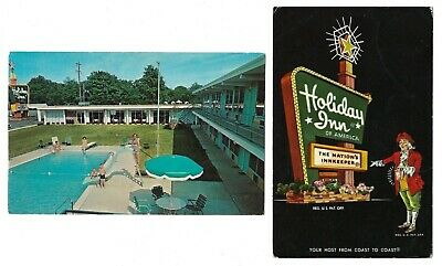Set of 2 1950/60s Holiday Inn Postcards of Portsmouth, Ohio & Lebanon, Tennessee