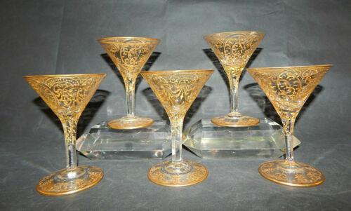 KARLSBAD MOSER GOLD ENAMELED ART GLASS STEMWARE - SET OF FIVE - SIGNED