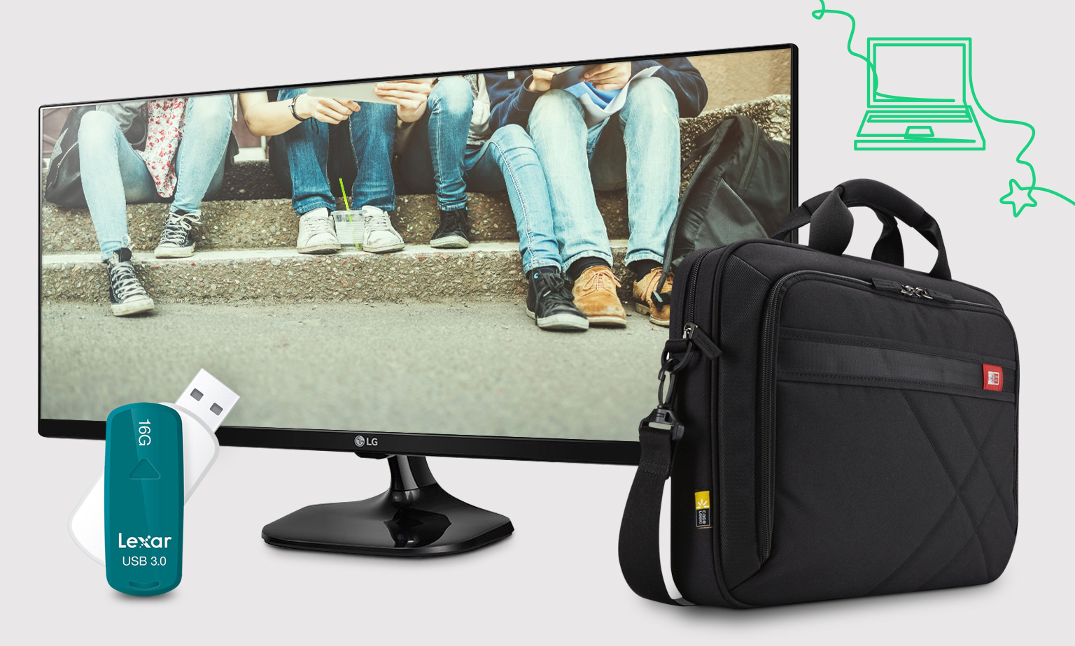 Back to school essentials for students from eBay. Monitors, printers, usb drives, wireless mice and keyboards, bags & cases.