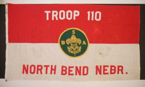 Vintage Boy Scouts Troop Flag Wool 1940s North Bend Nebraska Defiance Banner