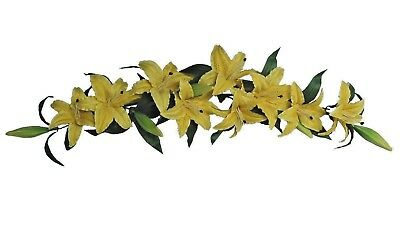 Yellow Tiger Lily 35  Swag Wall Floral Arrangement Silk Flower Home Office Decor
