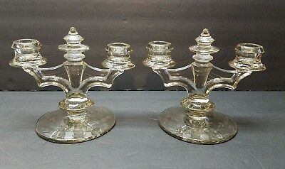 Vintage Antique Art Deco Depression Glass Smoke Grey Cut Glass Candle Holders Art Deco Candle Holders