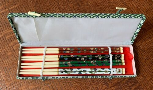 Chopsticks Cloisonne Fancy Floral Set of 4 pairs. Black White Green Red with Box