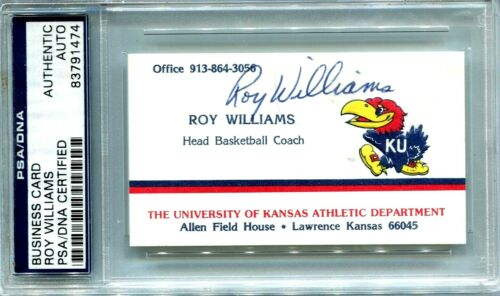 BUSINESS CARD SIGNED ROY WILLIAMS HEAD COACH KANSAS BASKETBALL 3 NAT