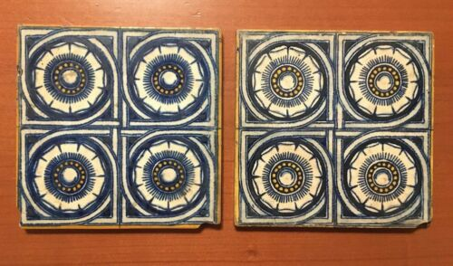 Antique 1860s 5 7/8 Victorian English Aesthetic 2 Art Tiles WB Simpson Sons - $35.00