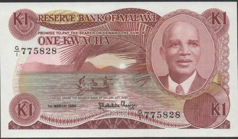 Malawi , 1 Kwacha . 1.3.1986 , P 19a , Prefix G/1 , Rare
