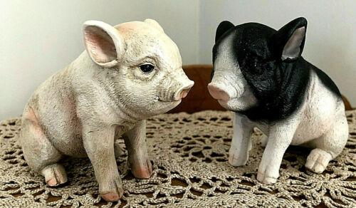 "Cute Piglet Figurines ~ Resin Ornaments ~ Set of 2 ~ Farm Animals ~ New 5"" Long"