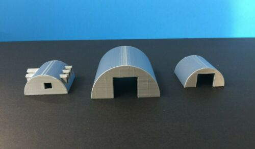 (3) QUONSET Building Set with Office - TT Scale - 1:120 Military or Farm Cluster