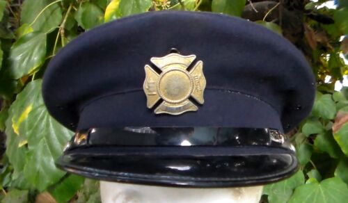 Old US 1960s era F.D. Fire Department / Firefighter Visor Hat Size 7 1/8 USED