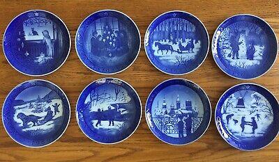 Lot 8 Royal Copenhagen Blue Christmas Plates 1982 - 1989  Denmark Lovely