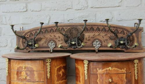 1950s Holland Frisian wood carved coat rack putti hooks