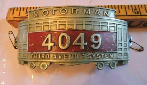 Rare 1910 TARS 3rd Av Trolley New York City NYC Subway Motorman Hat Badge