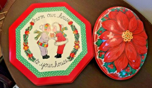 Lot of 2 Vintage Plastic Christmas Cookie Containers