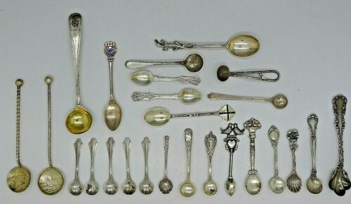 25 RARE STERLING SILVER SALT & MASTER SALT SPOONS GORHAM CHANTILLY OTHERS LOOK