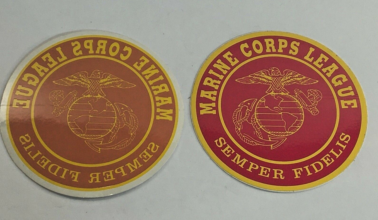 Marine Corps League Sticker Decal 4 Inch Round Gold Red Inside Outside Pair  - $5.95