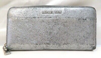 Michael Kors Money Pieces Leather Continental Wallet - Pewter Metallic