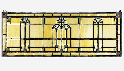 Ginkgo Stained Glass Window Arts and Crafts Movement - 35 X 13 inches