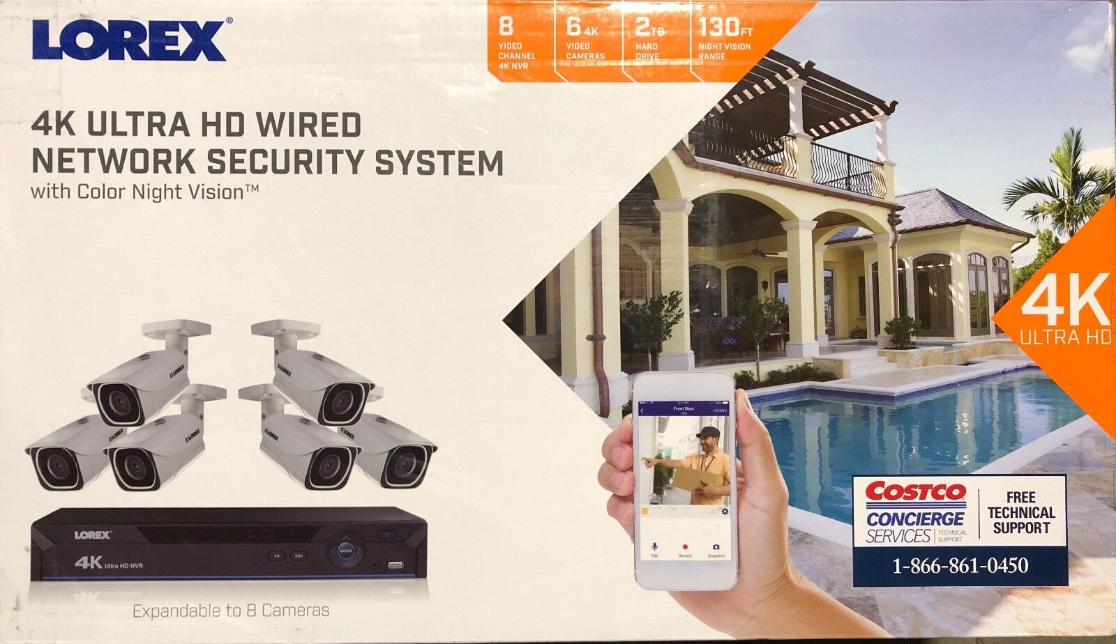 Lorex 8 channel 8 MP w/2TB HDD UHD 4K home security system 6- 4K Cameras.NEW