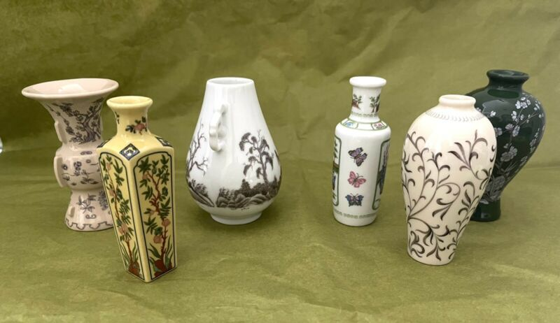 FP Japan Premium Porcelain Set of 6 Miniature Vase vases 1980 Limited Edition