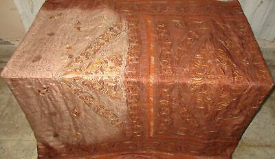 Pure silk Antique Vintage Sari HUCE LOT 4y S35 420 Crem Coffe DECOR #ABCWQ