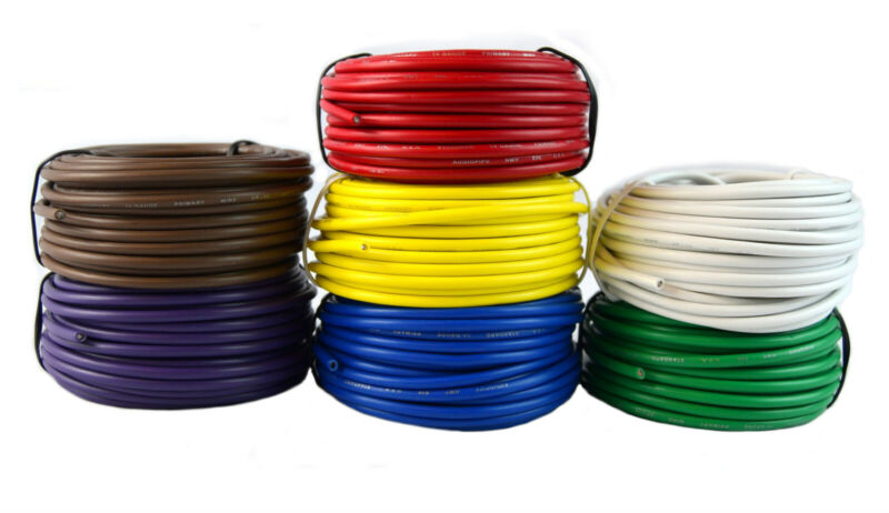 7 Rolls 14 Gauge 25 Feet Each Trailer Wire Primary Remote Cable Harness 175